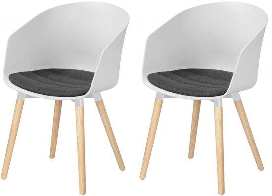 Witte Kunststof Design Stoelen.Bol Com 24designs Set 2 Stoelen Jonna Wit Kunststof Grijs