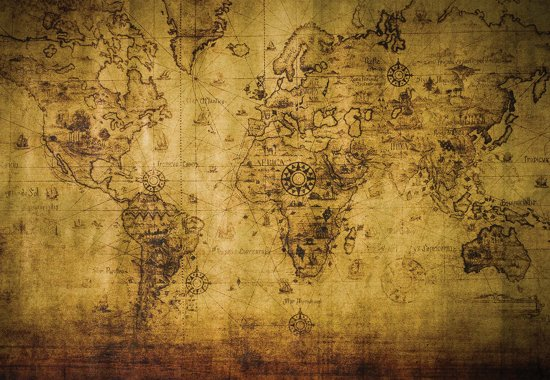 Fotobehang Sepia World Map Vintage | M - 104cm x 70.5cm | 130g/m2 Vlies