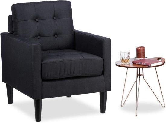 Bol.com relaxdays retro fauteuil zwart armstoel vintage