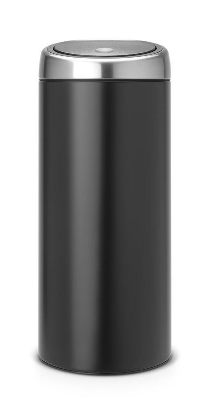 Brabantia Touch Bin 30 L Mat Zwart.Brabantia Touch Bin Prullenbak 30 L Zwart
