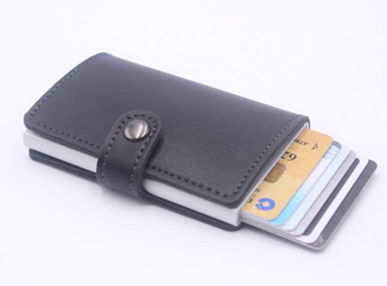 8d5e389c90c bol.com | Creditcard kaart houder zwart leren pasjes portemonnee ...