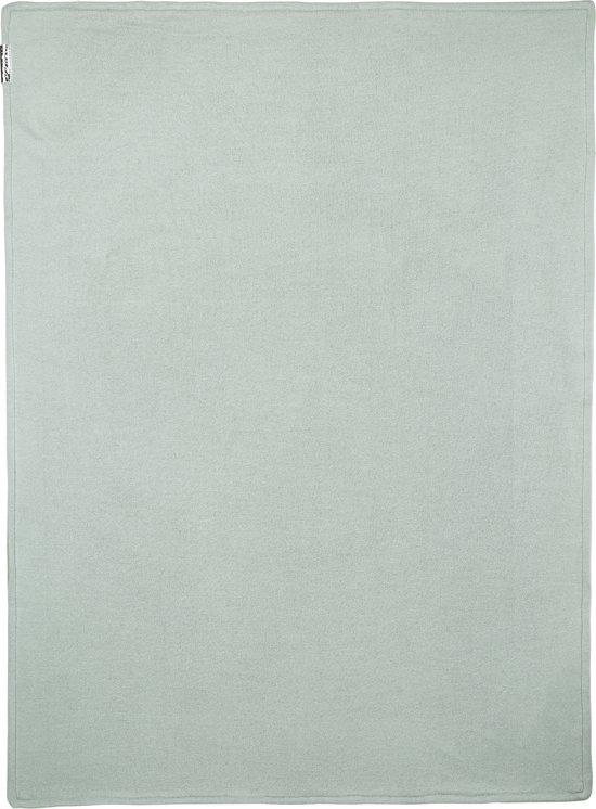 Meyco wiegdeken Knit Basic met velvet - 75x100 cm - stone green