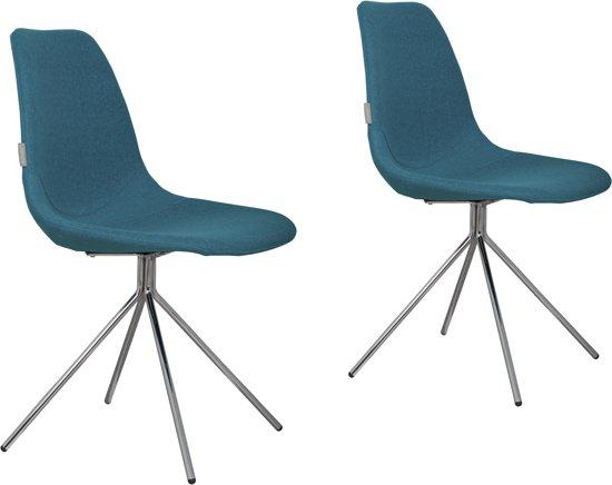 Blauwe Design Stoelen.Bol Com Zuiver Fourteen Up Eetkamerstoel Blauw Set Van 2