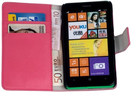 new style cc4a9 2755f LELYCASE Book Case Flip Cover Wallet Hoesje Nokia Lumia 625 Pink