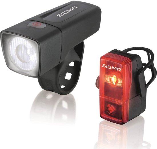 Sigma Aura/Cubic Fiets Verlichtingsset - 25 Lux - Batterij - Zwart