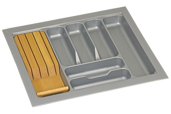 Culinorm Bestekbak met messenblok 55 cm breed x 50 cm diep - Grijs
