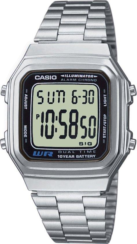 Casio vintage A178WEA-1 - Horloge - 35 mm - Staal - Zilverkleurig