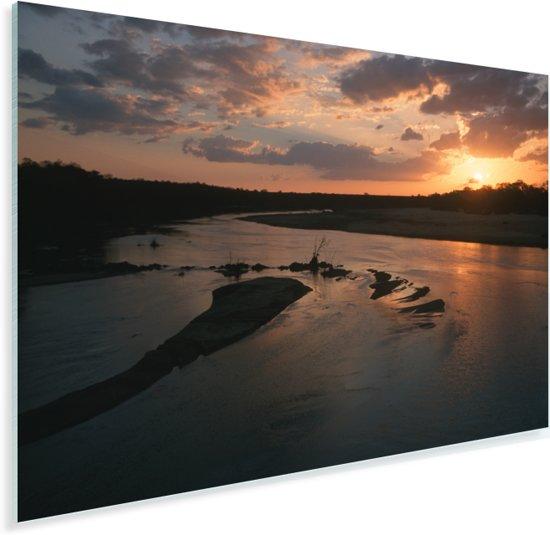 Zonsondergang over de rivier Letaba in het Zuid-Afrikaanse Krugerpark Plexiglas 90x60 cm - Foto print op Glas (Plexiglas wanddecoratie)