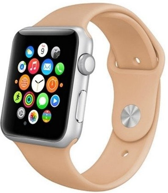 By Qubix Siliconen bandje - Apple Watch Series 1/2/3/4 (42&44mm) - Beige - S/M