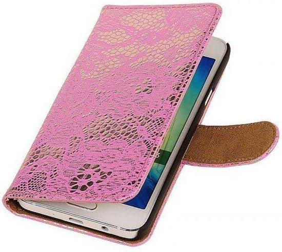 Samsung Galaxy S5 Hoesje Bloem Bookstyle Roze