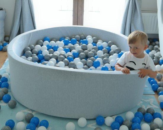 Zachte Jersey baby kinderen Ballenbak met 900 ballen, diameter 125 cm - wit, roze, grijs