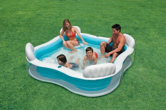 Luxe Opblaasbaar Familie Zwembad met Ingebouwde Zitjes - 229 x 229 x 66 CM   Opblaasbare   Family Zwembad Speelgoed   Luchtbed   Water   Familiebad