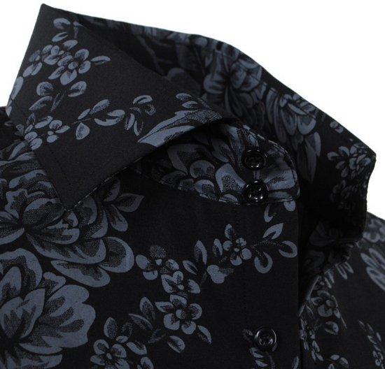 Zwart Bloemen Slim Fit Heren Overhemd Montazinni XCxqpp