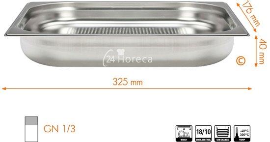 Stoomovenpan 1/3 40mm Profi Line, geperforeerd