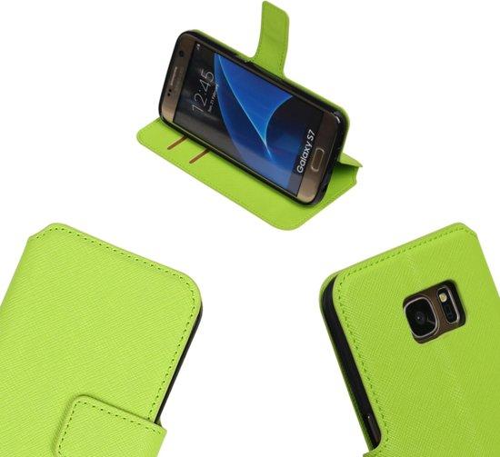 MP Case Groen ribbelig structuur TPU PU leder cover voor de Samsung Galaxy S7 G930F Booktype - Telefoonhoesje - smartphonehoesje - beschermhoes. in Sint-Antelinks