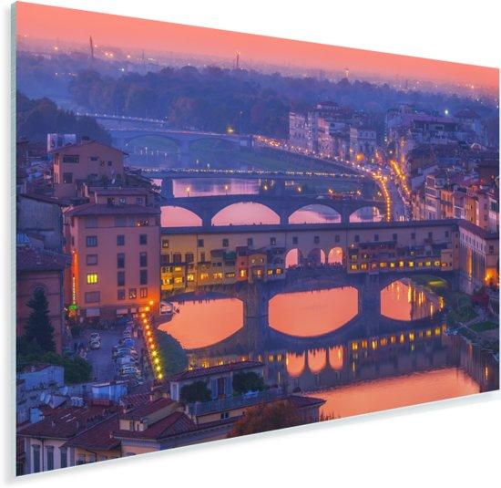 Roze tinten in de lucht boven de Ponte Vecchio in Italië Plexiglas 180x120 cm - Foto print op Glas (Plexiglas wanddecoratie) XXL / Groot formaat!