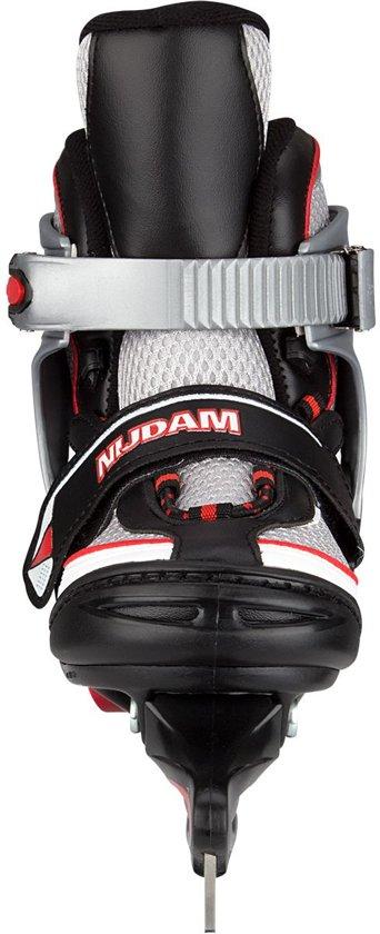 Nijdam Junior IJshockeyschaats Junior Verstelbaar - Semi-Softboot - Zwart/Zilver/Rood - 30-33