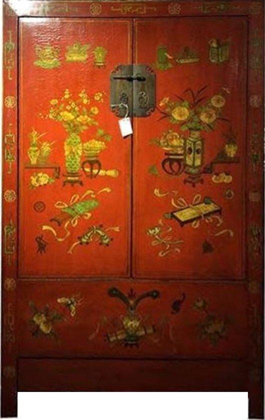 Antieke Chinese Kast Handgetekende Bloemen