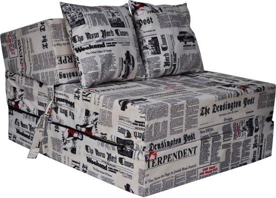 Luxe logeermatras - newspaper - camping matras - reismatras - opvouwbaar matras - 200 x 70 x 15 - met kussens