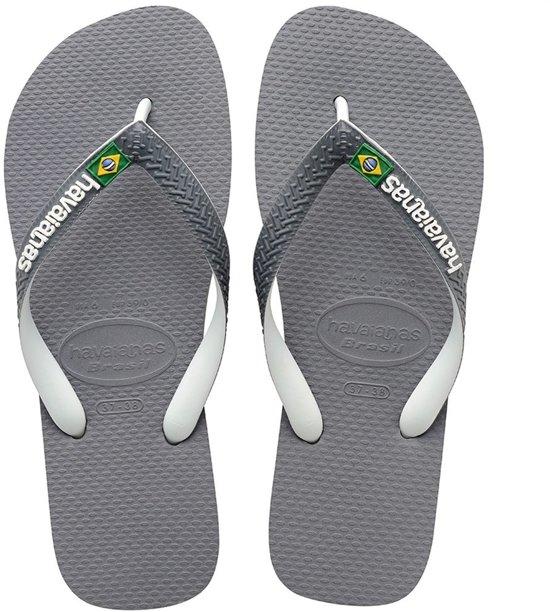 Havaianas Brasil Mix Slippers Unisex - Steel Grey/White/White