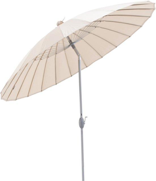 SORARA Shanghai Parasol – Beige – Ø 260 cm - Slinger- en Knikmechanisme – Rond