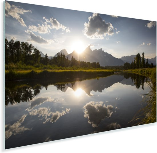 Ondergaande zon achter het Tetongebergte in Wyoming Plexiglas 180x120 cm - Foto print op Glas (Plexiglas wanddecoratie) XXL / Groot formaat!