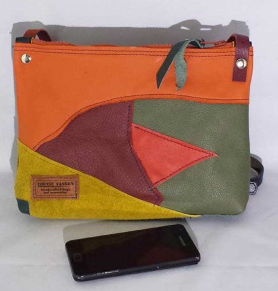 41164ee121f Toetie & Zo Handgemaakte Leren Tas Multicolor, multi, patchwork, oranje,  geel,