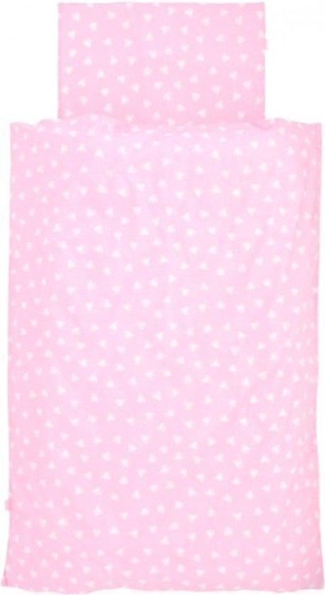 Jollein - Dekbedovertrek 120x150 cm + kussensloop - Hearts Pink
