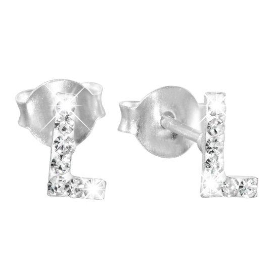 Lucardi - Zilveren kinderoorbellen - Letter L