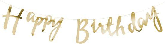 Ginger Ray Pick & Mix - Happy Birthday verjaardag slinger - Goud - 1,50 meter Valentinaa