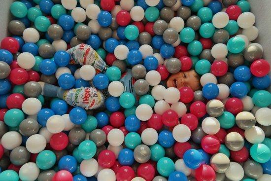 Zachte Jersey baby kinderen Ballenbak met 1200 ballen, 120x120 cm - wit, grijs, turkoois