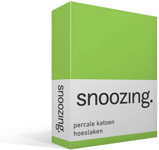 Snoozing - Hoeslaken - Percale katoen - Lits-jumeaux - 160x200 cm - Percale katoen - Lime