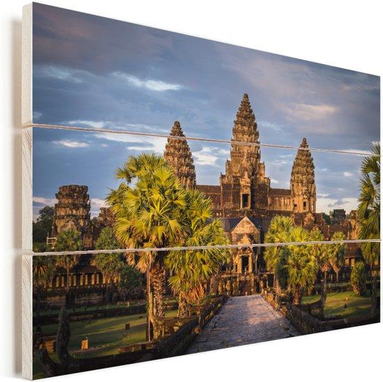 Zonsondergang in Angkor Wat Vurenhout met planken 120x80 cm - Foto print op Hout (Wanddecoratie)