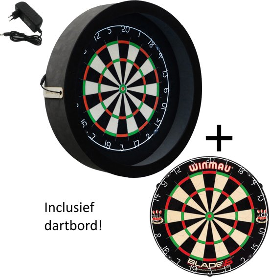 Dragon darts - Sorpresa PRO - dartbord verlichting - inclusief - Winmau blade 5 - dartbord - zwart