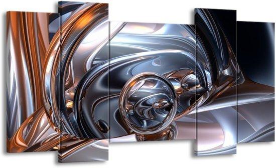 Canvas schilderij Abstract | Zilver, Zwart, Wit | 120x65 5Luik