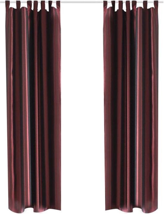 vidaxl gordijn tafzijde bordeaux 140x245 cm 2 stuks