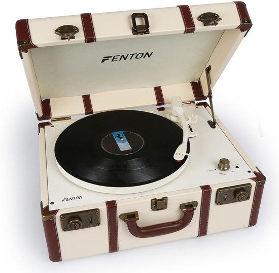 Fenton RP145 platenspeler in witte koffer met speakers
