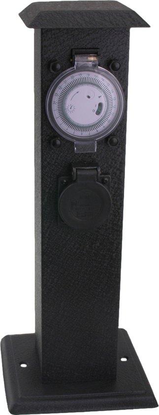 Exin Tuinpaal met timer en 3 randaarde stopcontacten IP44