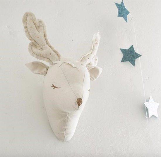 Wanddecoratie baby kinderkamer / Dierenhoofd rendier / Knuffel wit / Kraamcadeau