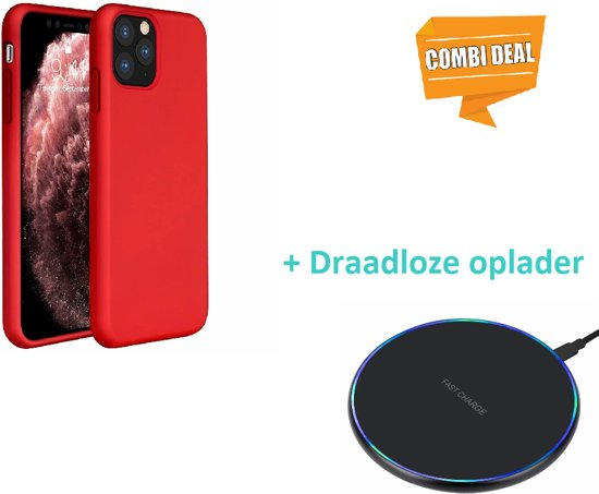 Silicone case iPhone 11 Pro Max (rood) met draadloze oplader