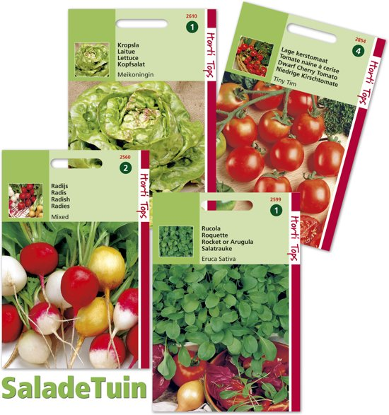 Horti Tops Salade Tuin - 4 zakjes zaden - Radijs, balkontomaat, rucola en sla