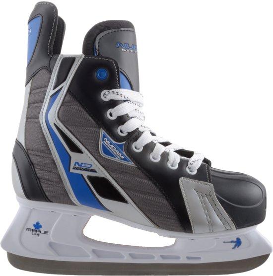 Nijdam IJshockeyschaats Polyester - Deluxe - Zwart/Grijs - Maat 45