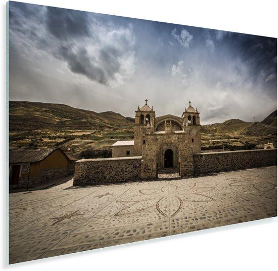 Gebouw van de voorkant in de Colca Canyon vallei in Peru Plexiglas 90x60 cm - Foto print op Glas (Plexiglas wanddecoratie)
