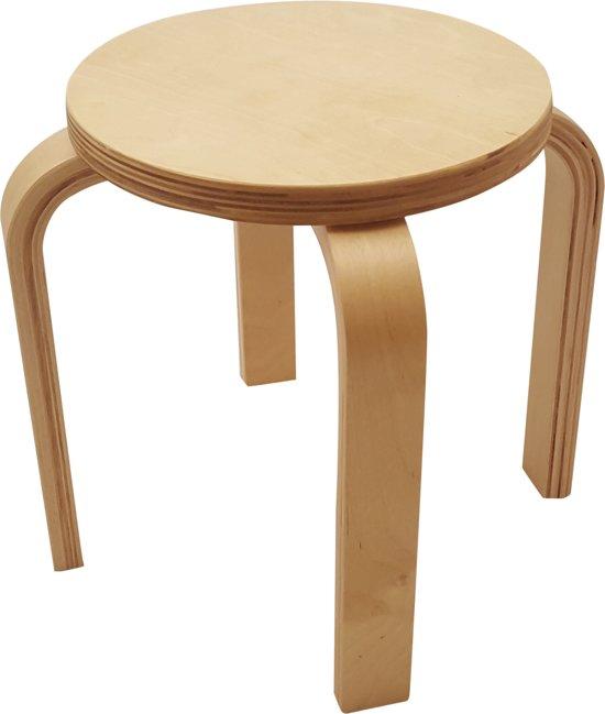 Playwood - Houten kruk voor kinderen blank gelakt - kinderkrukje - Stapelbaar