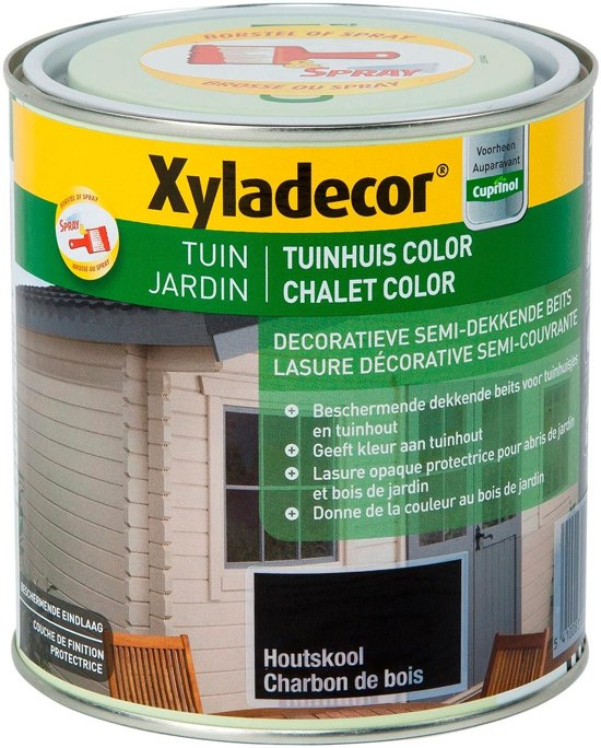 Xyladecor Tuinhuis Color - Houtbeits - Houtskool - Mat - 1L
