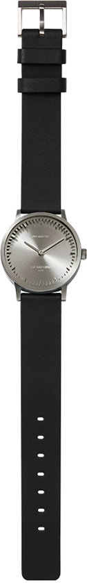 Tube watch T32 steel / black leather strap