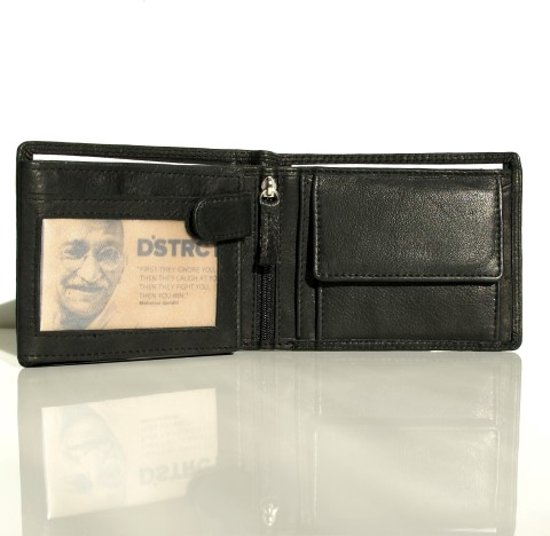 6edc09f4db0 Zwarte Portemonnee voor Heren 11 x 9 cm. Vervaardigd uit zacht Nappa leder  met ruimte