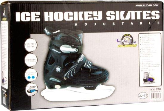 Nijdam 3150 Junior IJshockeyschaats - Verstelbaar - Semi-Softboot - Zwart/Wit - Maat 38-41