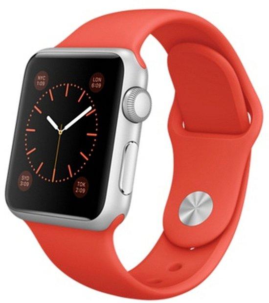 Rubberen sport bandje voor de Apple Watch 38mm M/L - Oranje in Niesoord