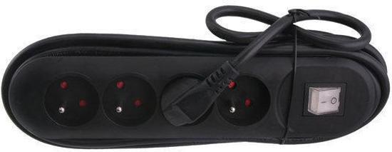 Exin Stekkerdoos - 4-voudig met penaarde - Met veiligheidsschakelaar - 3 meter snoer - 3 x 1.5 mm2 vinylkabel - Zwart